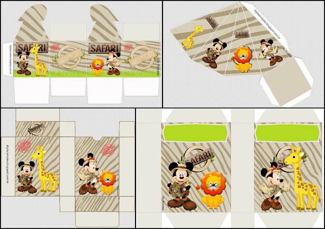 Mickey and Minnie Safari: Free Printable Box.