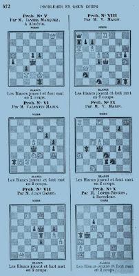 Seis problemas del libro Tratado analítico de problemas de ajedrez de José Tolosa