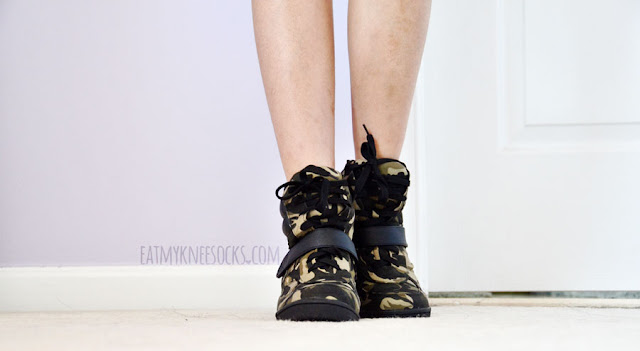 AMIClubwear's camouflage-print canvas sneaker wedges have a thick, cushiony material that's easy to walk in and comfortable enough for everyday wear.