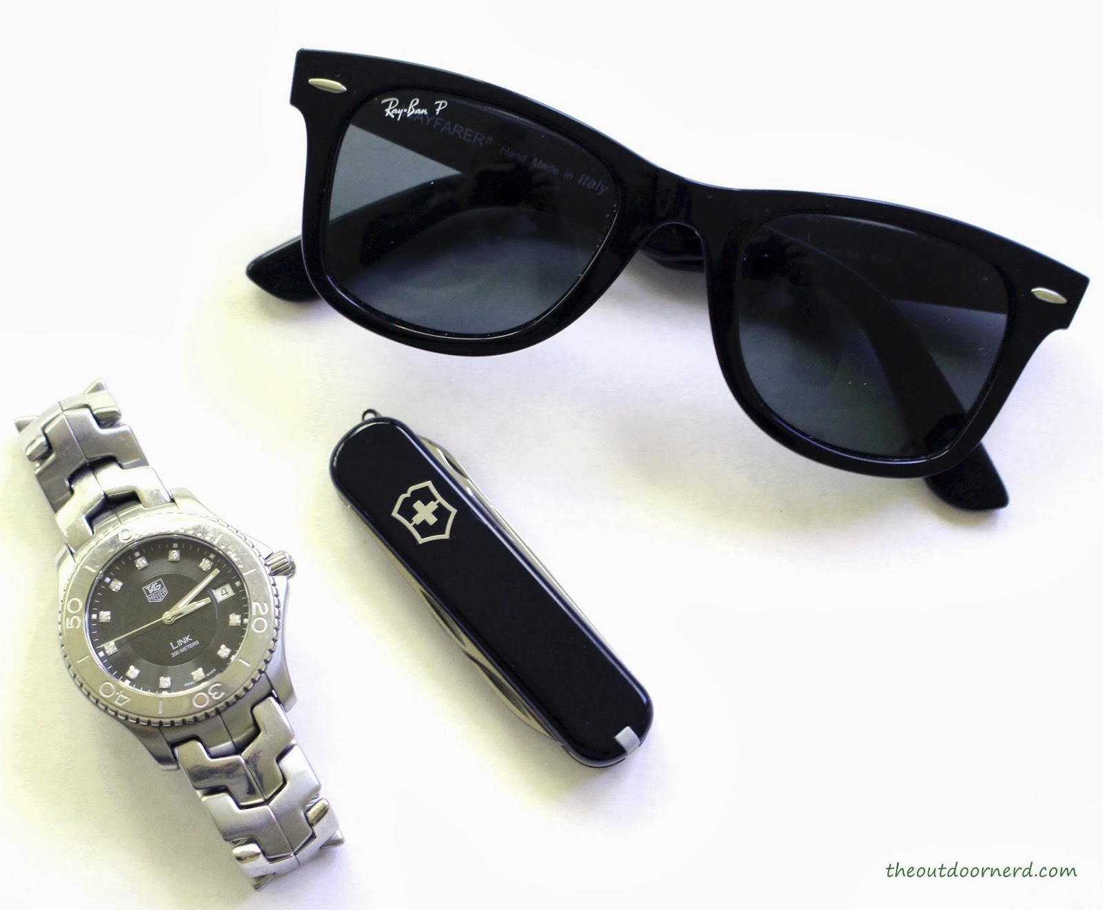 Victorinox Executive Multi-Tool Shown With Ray-Ban Wayfarers and Tag Heuer Link Watch