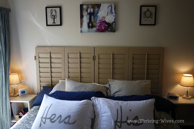 vintage home decor shutters as headboard