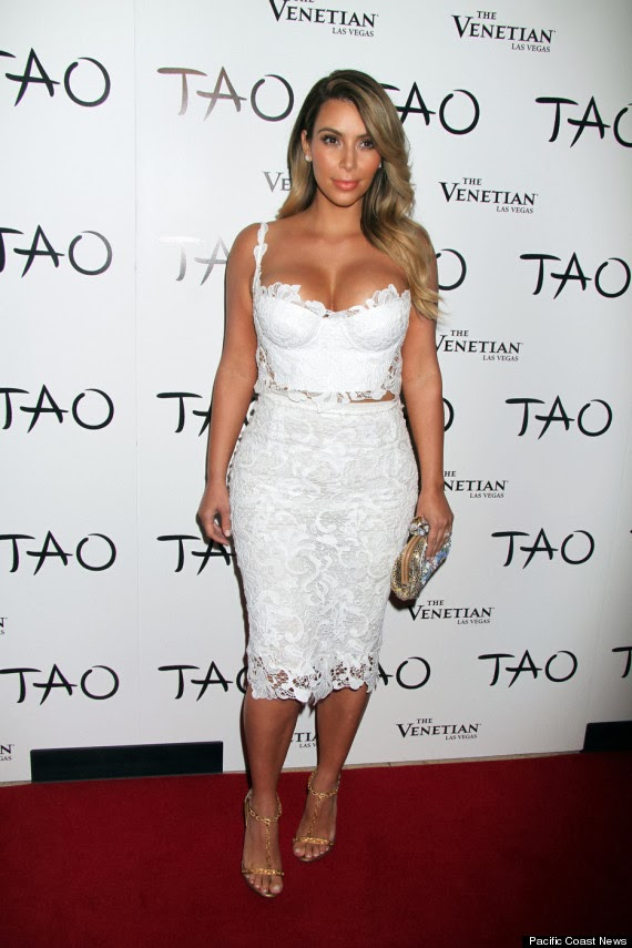 Kim Kardashian stuns in White Lace Birthday Dress, Vegas