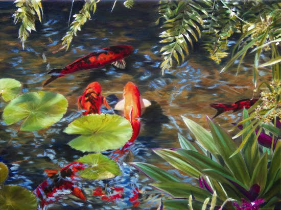 The Gallery For Japanese Koi Pond Painting