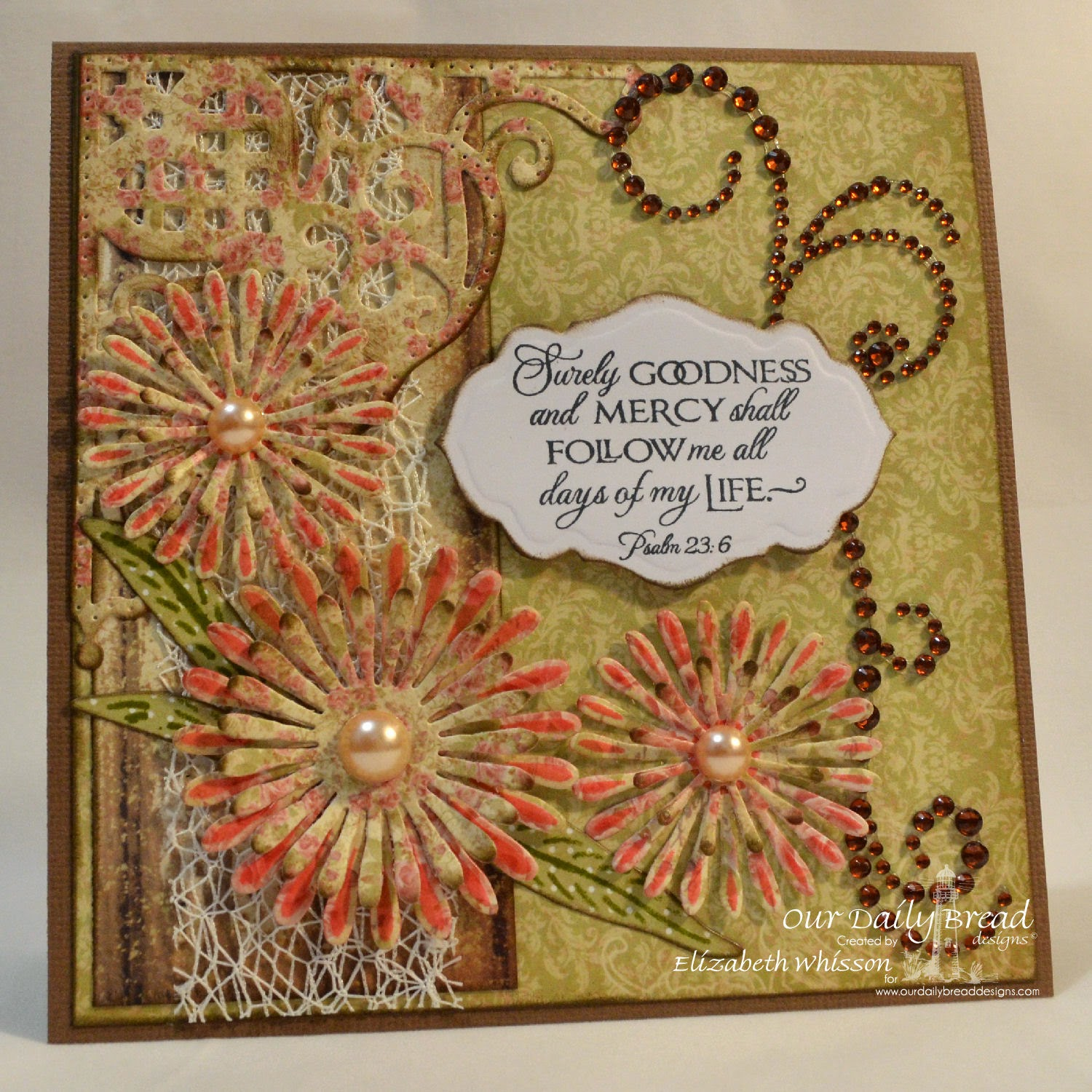Elizabeth Whisson, Our Daily Bread Designs, Cherry Blossom, ODBD Antique Labels and Border Dies, ODBD Asters and Leaves Dies, ODBD Decorative Corner Dies, ODBD Blushing Rose Collection, handmade card, Psalm 23:6, bible verse