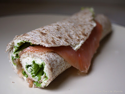 Wraps au saumon fumé, au tartare et aux carottes râpées (voir la recette)
