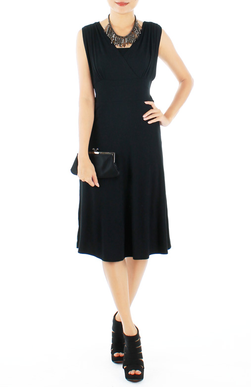 Black Ethereal Ruche V-Neck Flare Dress in Midi Length