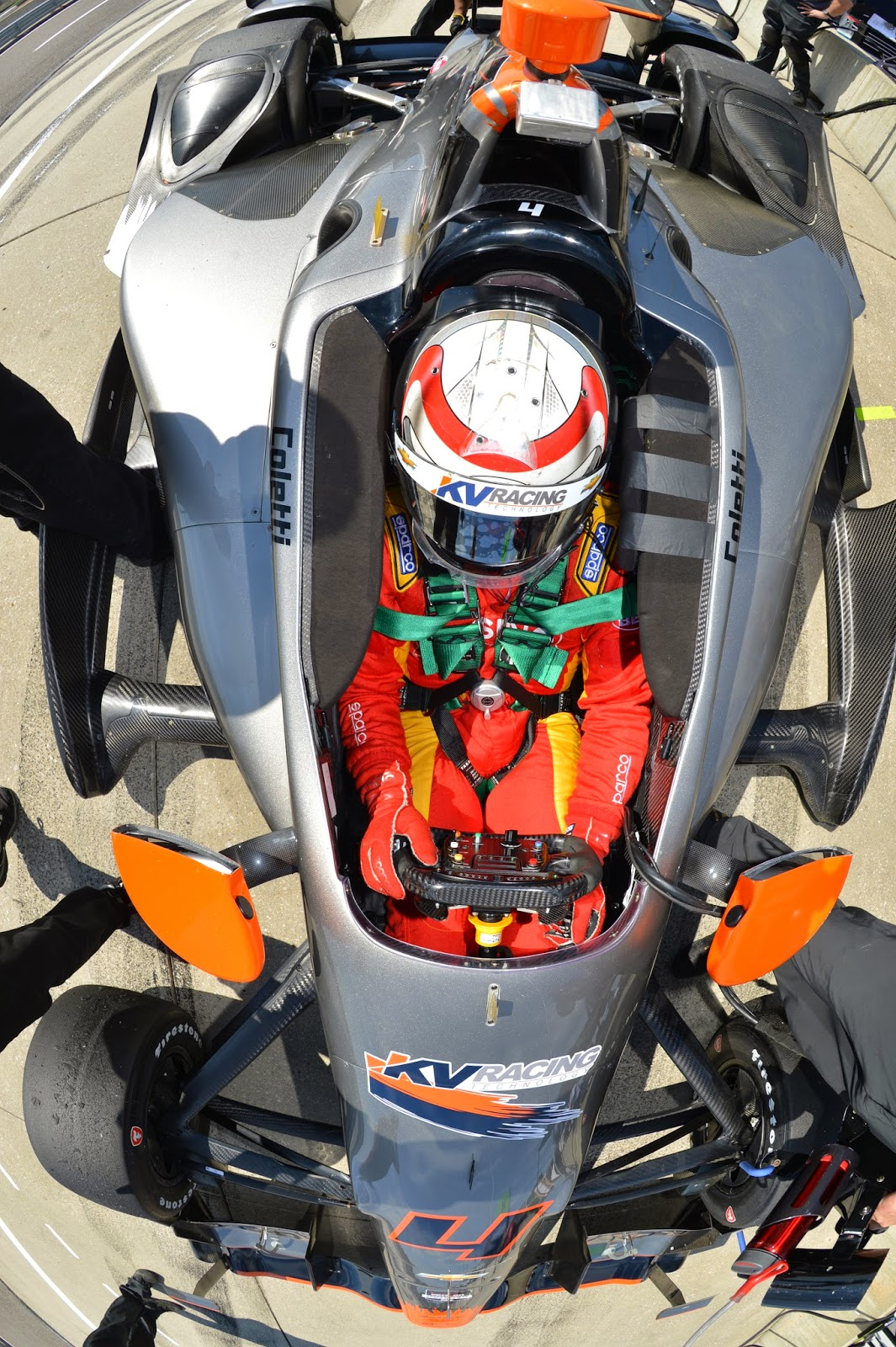Stefano Coletti is strapped into his KV Racing Technologies Chevrolet on pit lane during Tuesday's Open Test sessions at Barber Motorsports Park