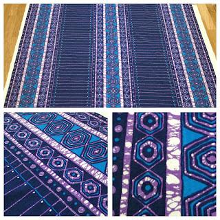 Jersey av Maud Fredin Fredholm, lila och turkos tyg textil metervara