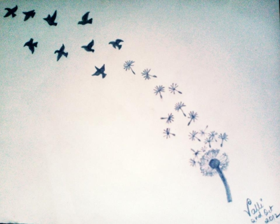 Birds flying away drawing - photo#3