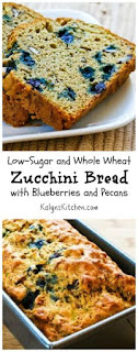 Low-Sugar and Whole Wheat Zucchini Bread Recipe with Blueberries and Pecans [from KalynsKitchen.com]