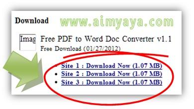 Gambar: Cara melakukan Convert PDF to WORD dengan software Free PDF to Word.  Langkah 2: memilih download file instalan Free PDF to Word