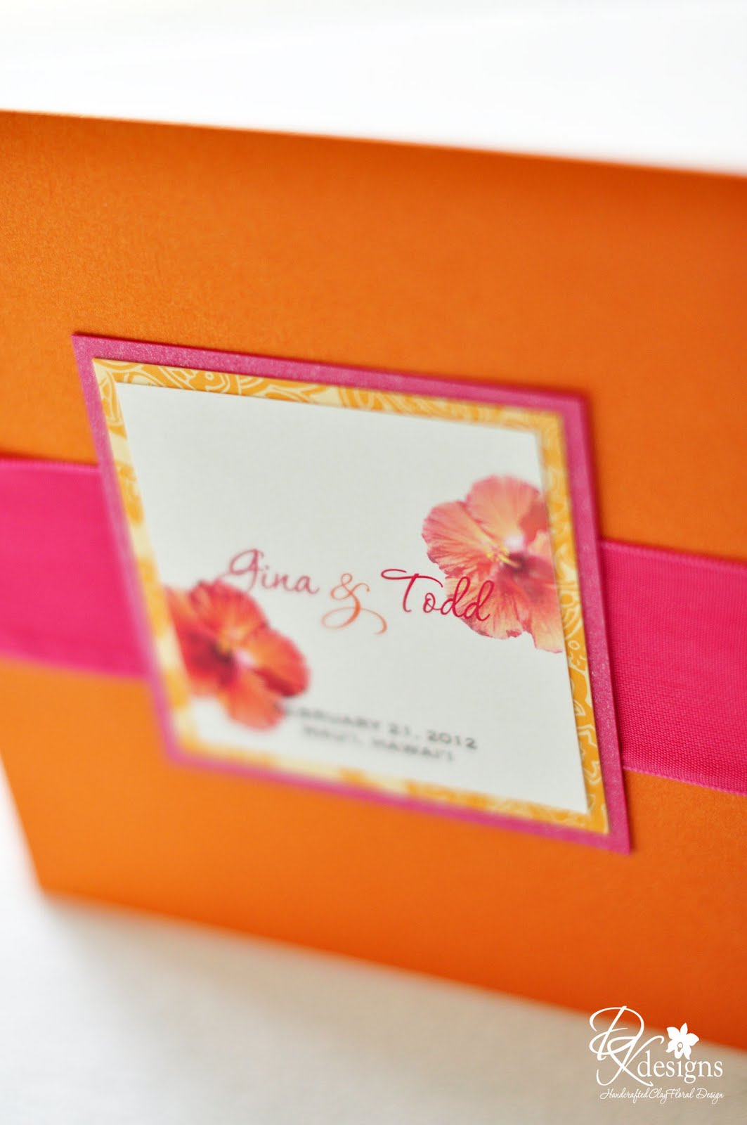 DK Designs: Orange and Pink Tropical Wedding Invitations