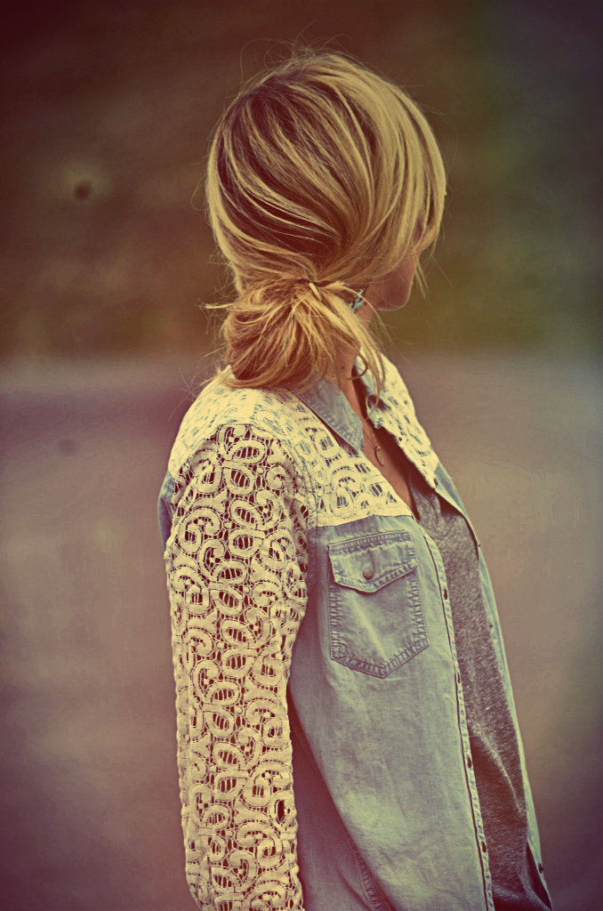 Adorable lace denim shirt and cute braid