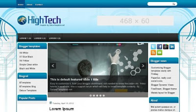 higntech blogger ads ready 3 column template Top 10 Ads Ready Blogger Templates to Maximize CTR