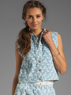 Printed Denim Vest