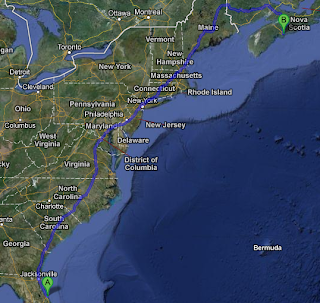 Google map of the drive from Florida to Nova Scotia, Canada