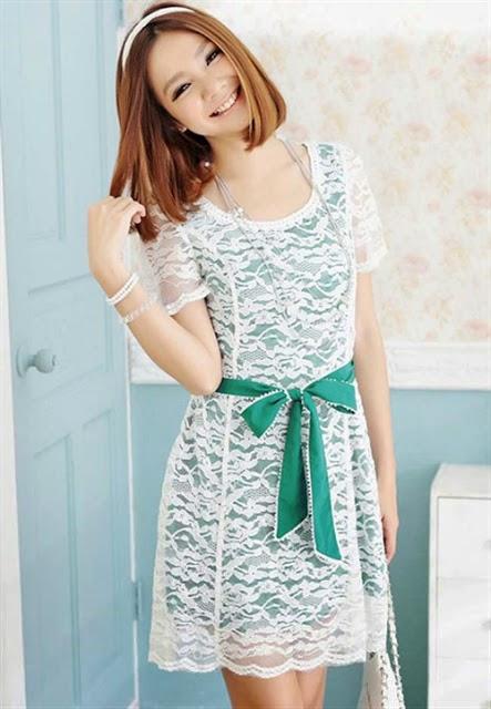 model baju dress korea wanita terbaru lengan pendek
