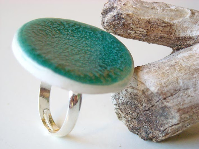 Turquoise Ring, fashion jewelry ceramic by azulado