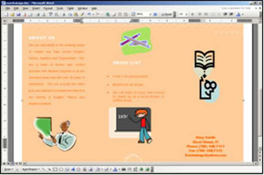 Brochure zafira pics brochure using microsoft word for Microsoft word pamphlet