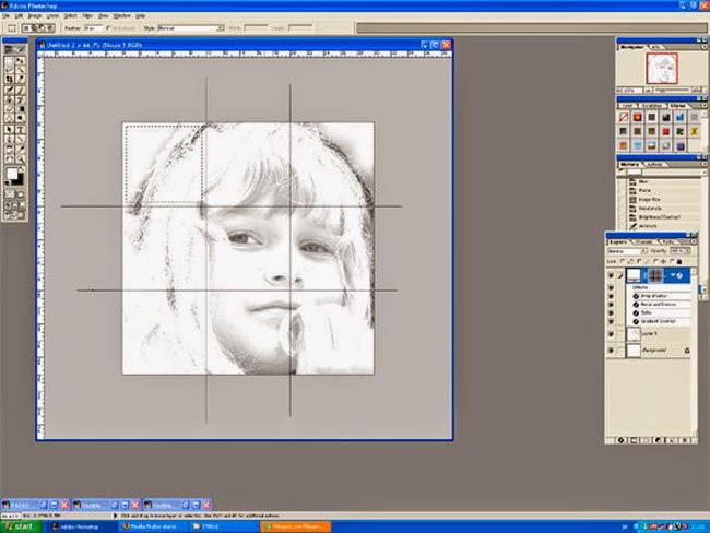 Foto cortada en 9 cuadrados con margen de 0,5 cm.