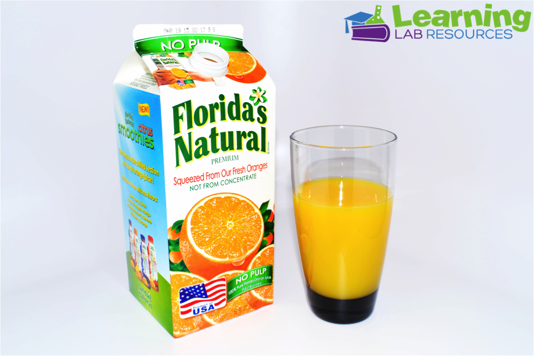 "Teach about the states of matter (solids, liquids, gases) by making ""orange soda"" with orange juice and baking soda."