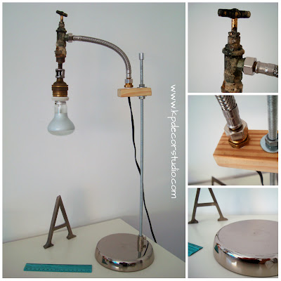 lampara de escritorio hecha a mano de estilo industrial con productos reciclados. Muebles reciclados