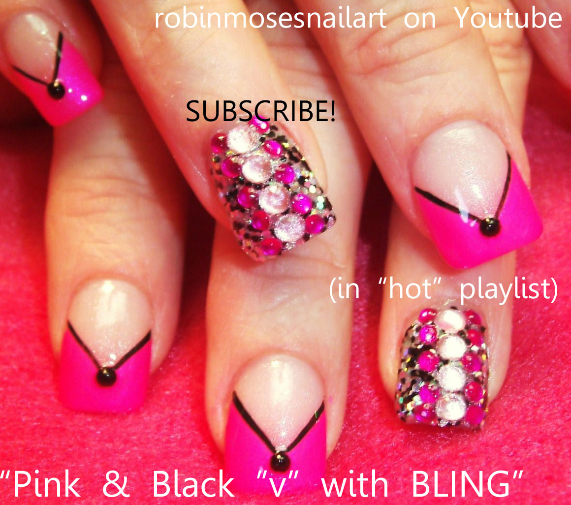 Pink And Black Nails Retro Brady Bunch Nail Art 70s Bling Diva Short