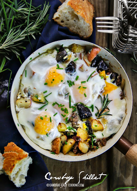 Cowboy Skillet: New Potato Medley, Italian Sausage and Eggs