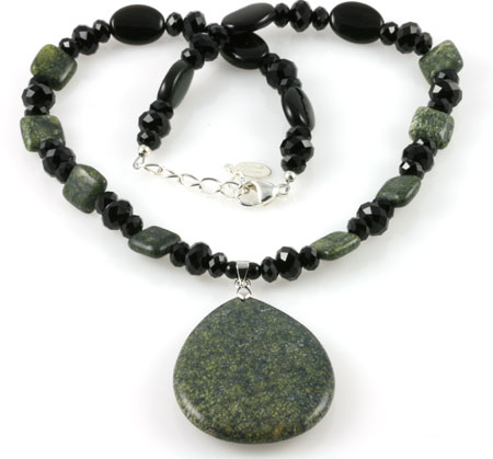 Green Moss Jasper Gemstone Beaded Necklace (N058)