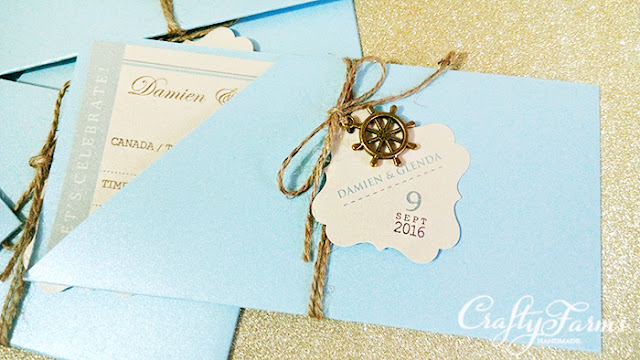 Boarding Pass Wedding Cards with Vintage Wheel Charms Canada, Malaysia