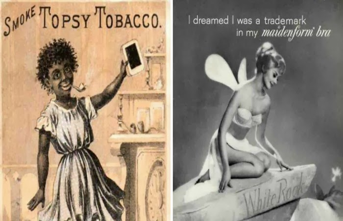 Obraz: nagie kobiety w reklamie tytoniu z 1800 roku i rajstop Maidenform