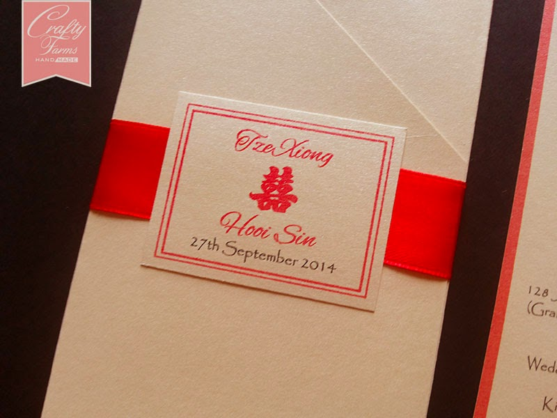 Bright Red Chinese Double Happiness Pocket Wedding Card
