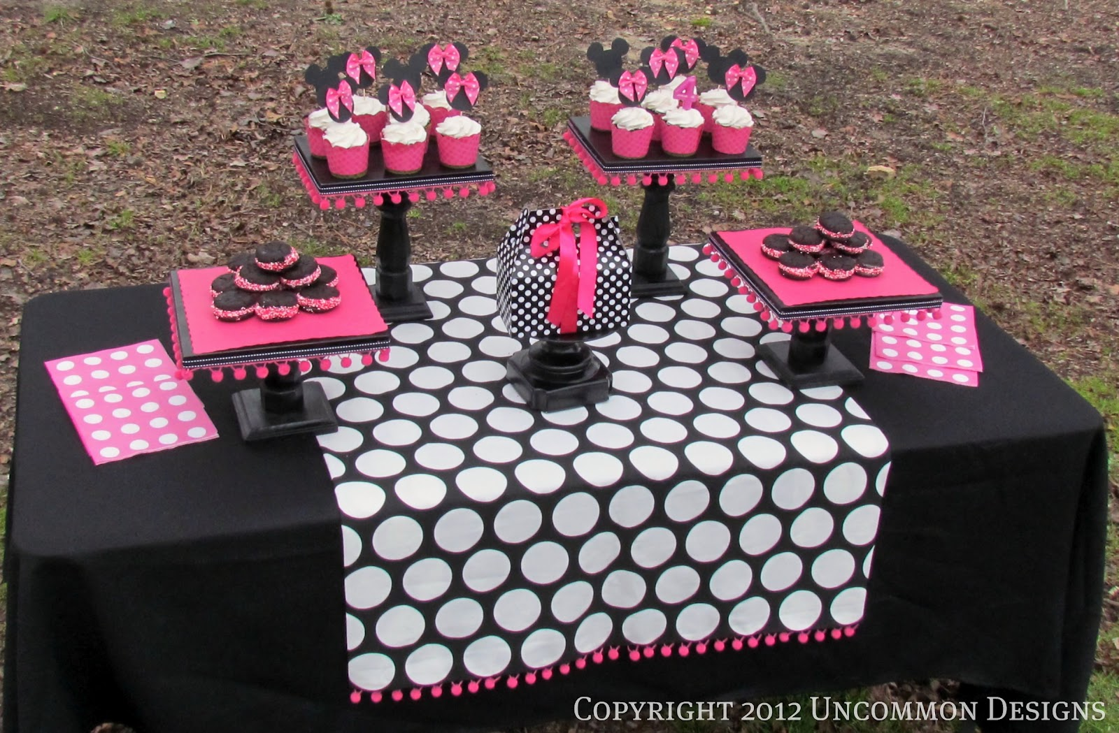 A minnie mouse birthday party uncommon designs we kept with the pinkblack white and dots at the sweets table too amipublicfo Choice Image