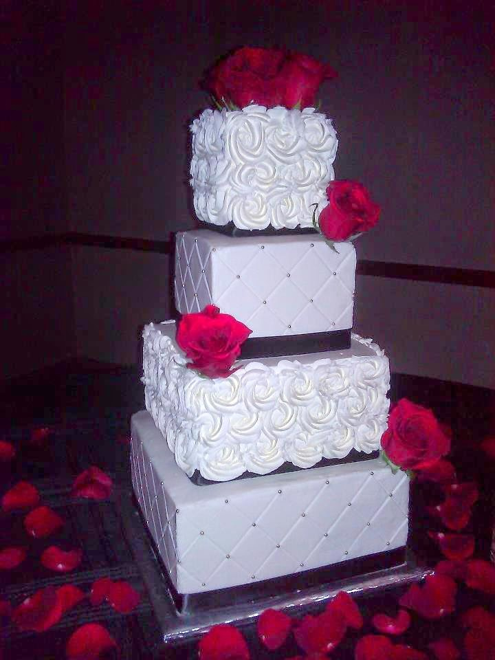 Whip Cream And Buttercream Rose Quilted Wedding Cake