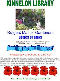 Rutgers Master Gardener Talks: Kinnelon Library 3/21 & 4/19