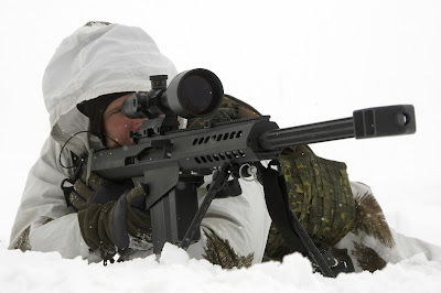 German military sniper with snow