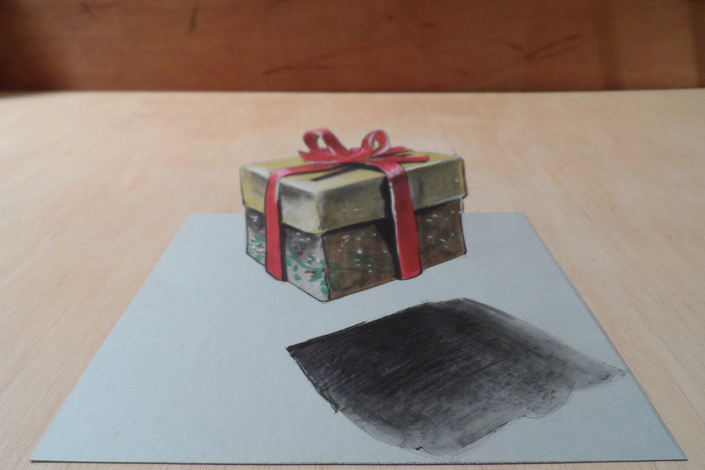 15-Xmas Box-Sandor-Vamos-3D-Optical-Illusions-Anamorphic-Drawings-Videos-www-designstack-co