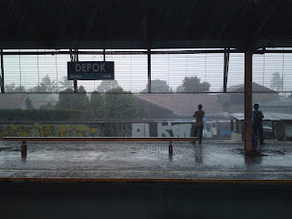 Rain Moment at Depok's Train Station
