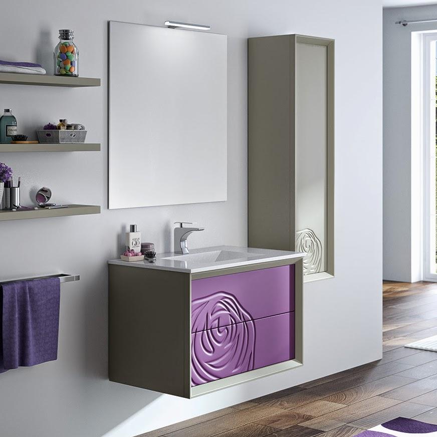 Mueble baño berenjena volumen textura