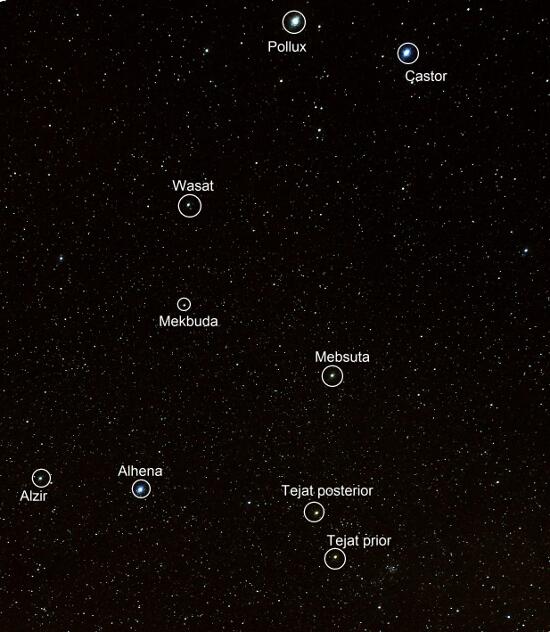 Constelacion de Geminis - Estrellas - El cielo de Rasal