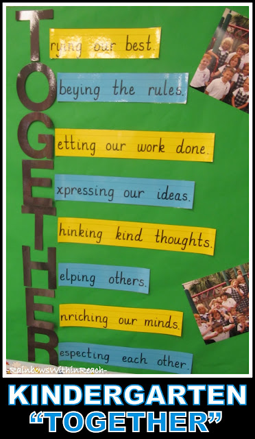 photo of: Kindergarten Acrostic for Good Behavior: TOGETHER