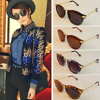 Womens Vintage Unisex Sunglasse Arrow Style Metal Frame Eyeglasses Round Glasses