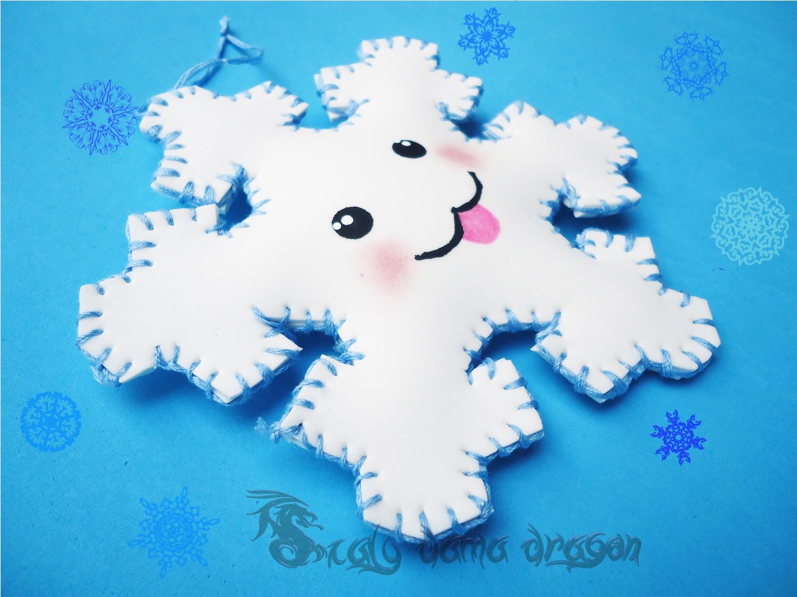 Copos de nieve kawaii hechos de fieltro y Goma eva o foamy DIY ...