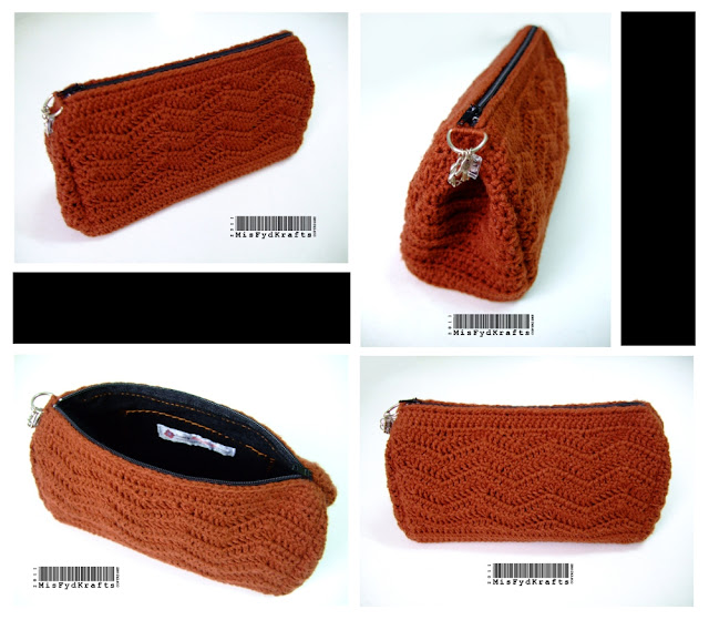 Crochet Zipper Pouch Tutorial : Single zippered large cosmetic pouch with inner side pocket & zigzag ...