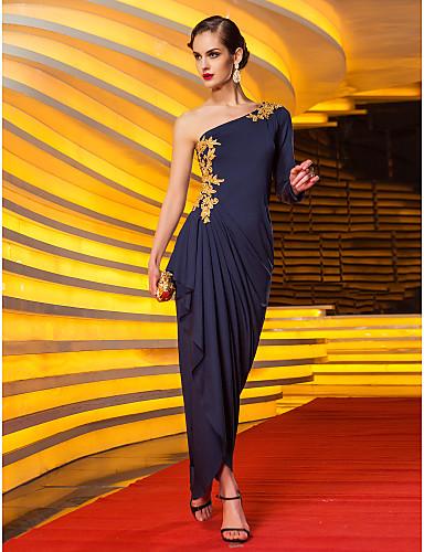 Vestido Azul Marino Hombro Asimétrico