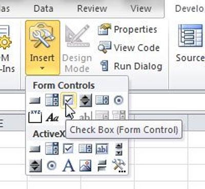 thêm hộp kiểm CheckBox bảng tính Excel
