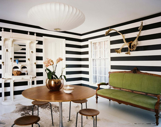 Black and White Room with Striped Walls
