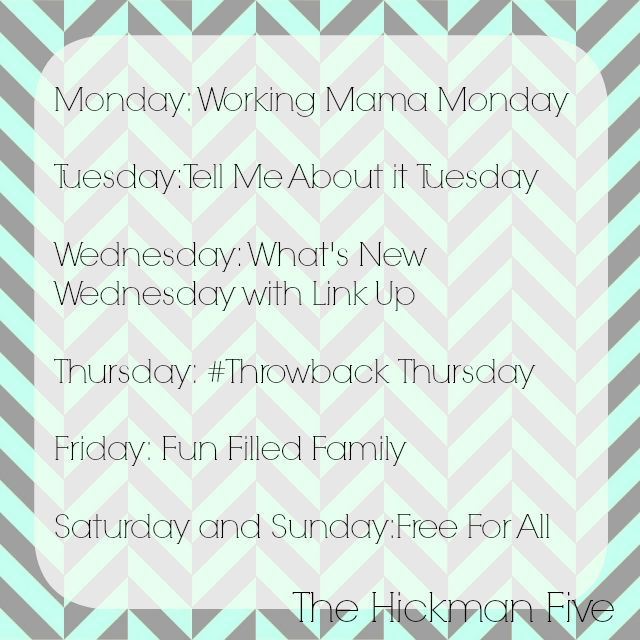 Hickman Five Blogging Schedule