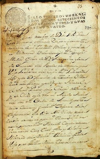 Testamento año 1725, del Capitán Don Joseph Madrid de Escobar Villarroel, octavo abuelo