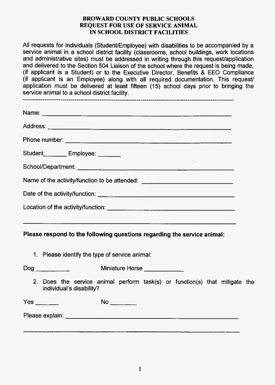 broward county service animal request page 1